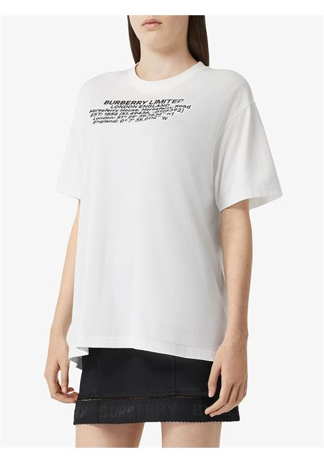 white oversized cotton t.shirt with Burberry headquarters coordinates print BURBERRY |  | 8024629-CARRICKA1464