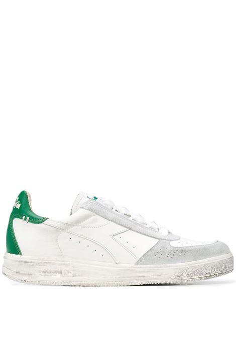 sneakers Elite bianche effetto usato con dettagli verdi DIADORA | Scarpa | 174751-B.ELITE H LEATHER DIRTYC7128