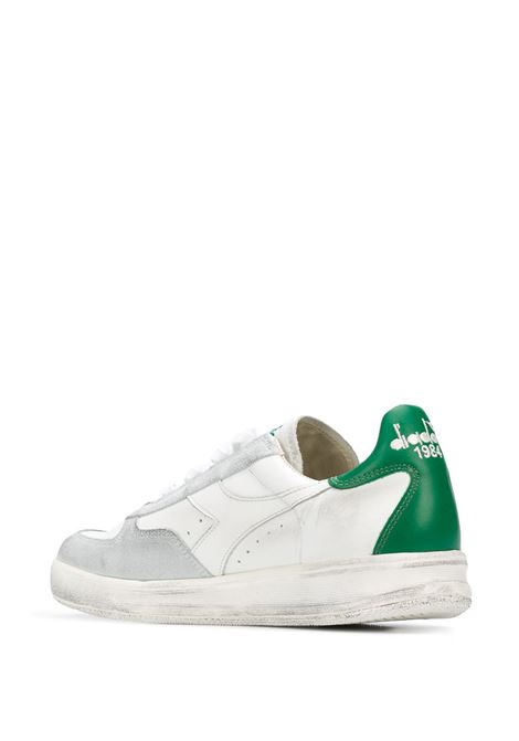 white leather and suede Elite sneakers with green detail DIADORA |  | 174751-B.ELITE H LEATHER DIRTYC7128