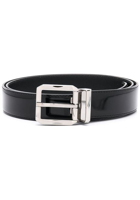 black calf leather shiny belt with silver tone square buckle.  DOLCE & GABBANA |  | BC4262-A103780999