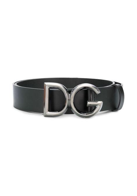 burnished metal DG metal black leather buckle belt DOLCE & GABBANA      BC4369-AV4798E912