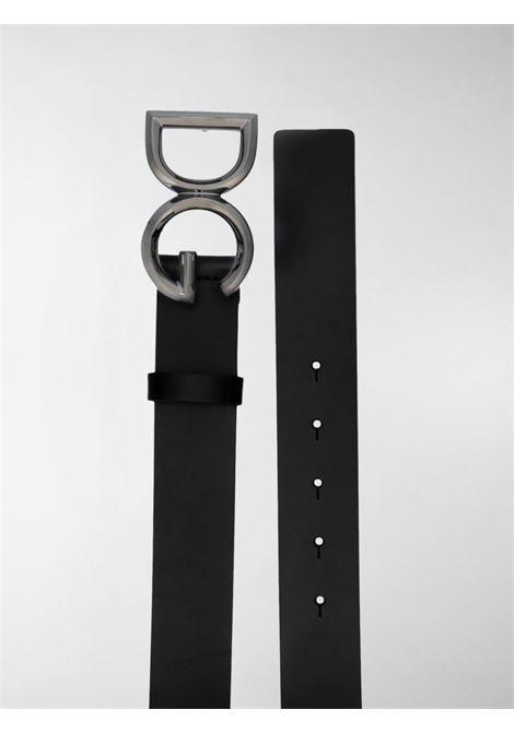 cintura nera in cuoio con fibbia logata DG brunita. Altezza 3,5 cm DOLCE & GABBANA | Cintura | BC4369-AV4798E912