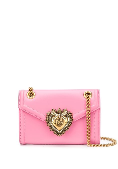 Devotion mini crossbody bag in pelle rosa con catena dorata DOLCE & GABBANA | Borsa | BI1168-AV89386163
