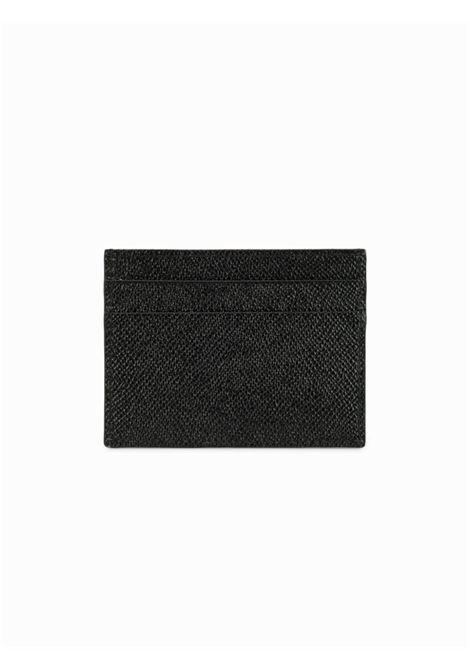 portacarte in pelle dauphine nero con placchetta logata nero matto DOLCE & GABBANA | Porta Cartacredito | BP0330-AZ60280999