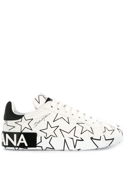 white Portofino leatehr sneakers with black star print all over DOLCE & GABBANA |  | CK1544-AJ609HA35C