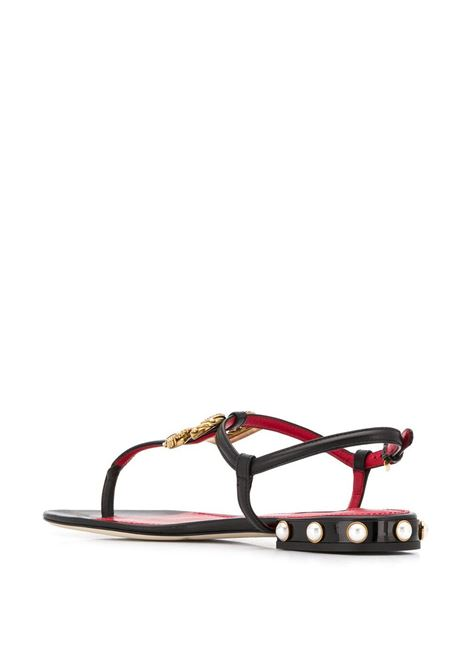 black leather sandals with gold DG logo metal plaque and pearl embellishment DOLCE & GABBANA |  | CQ0241-AI57380999