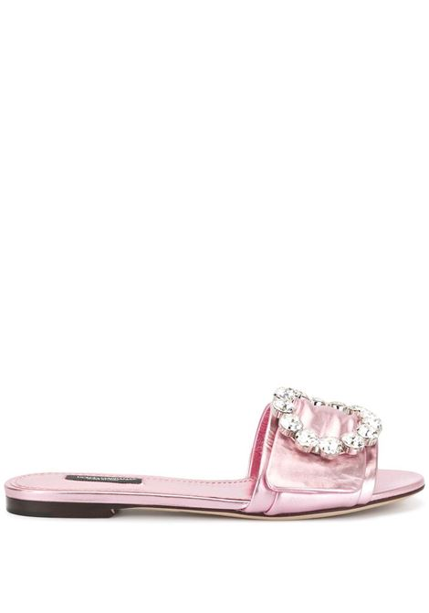 pink leather flat slides with swarovski crystal embellishment DOLCE & GABBANA |  | CQ0291-A10168H463