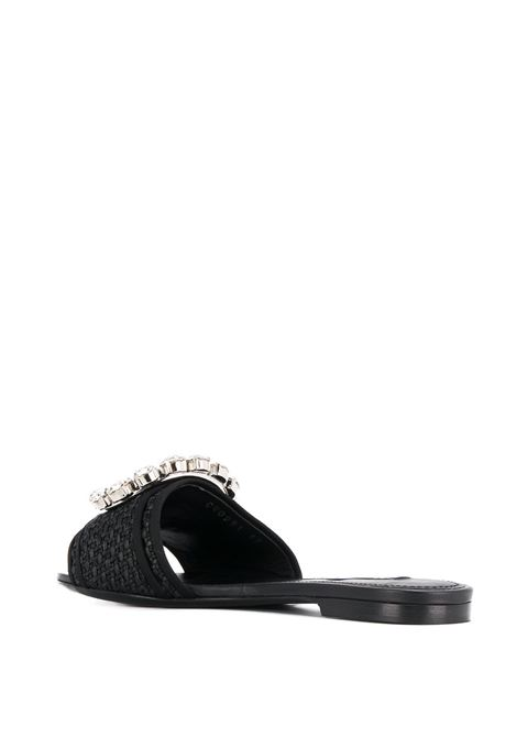 black raffia and leather ciabatta sandals with swarovski crytal embellishment DOLCE & GABBANA |  | CQ0291-AA71080999