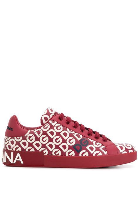 sneakers Portofino in pelle di vitello rosso con logo DG all over bianco DOLCE & GABBANA | Scarpa | CS1570-AA883HX92A