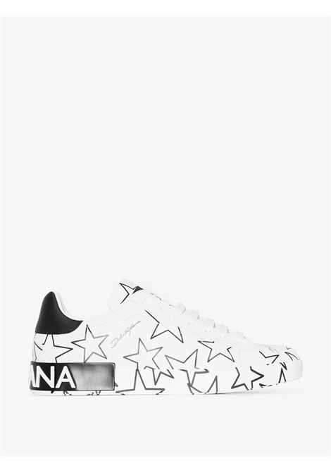 sneakers Portofino in pelle bianca con stelle nere all over DOLCE & GABBANA | Scarpa | CS1772-AJ609HA35C