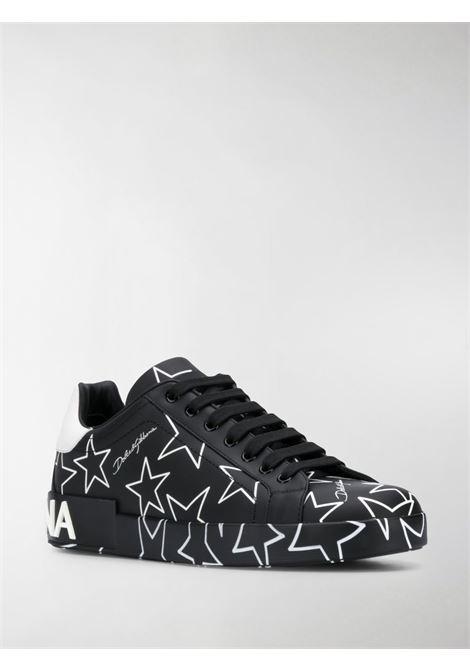 sneakers in pelle di vitello nero Portofino con stelle bianche DOLCE & GABBANA | Scarpa | CS1772-AJ609HN35C