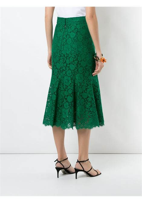 gonna in pizzo media lunghezza verde smeraldo con chiusura a zip DOLCE & GABBANA | Gonna | F4BT8T-HLMIJV0237