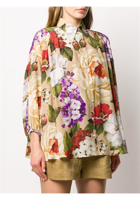 silk floral print beige loose fit shirt DOLCE & GABBANA |  | F5M01T-IS1AOHK1AL