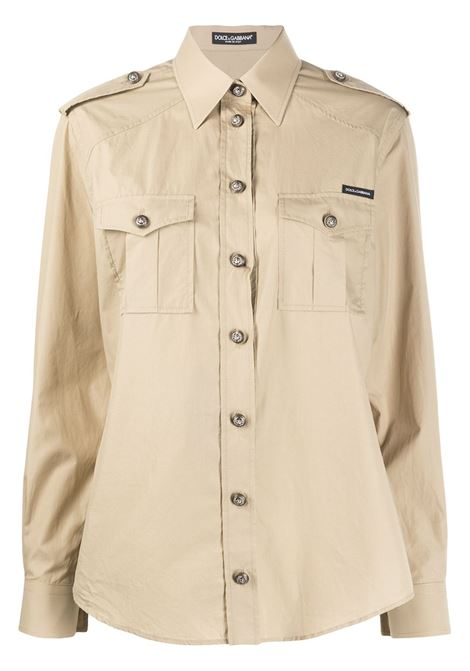 beige cotton safari long sleeves shirt with big buttons DOLCE & GABBANA |  | F5M03T-FU5K9M0208