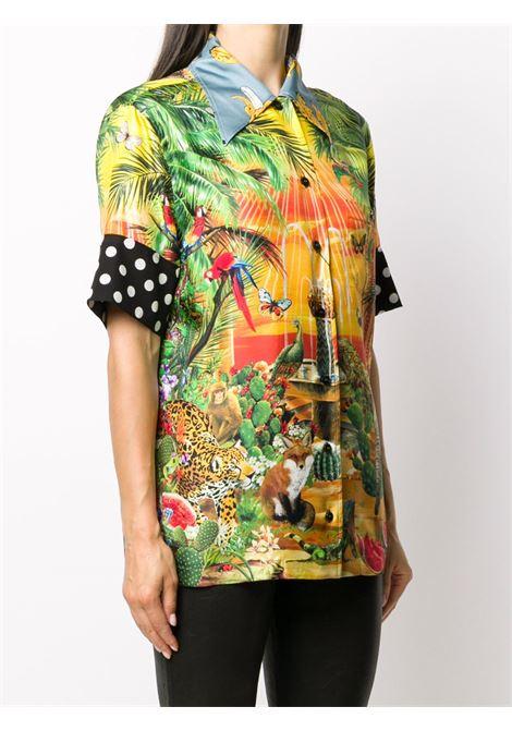 camicia in seta multicolor con stampa giunga e maniche con dettaglio nere a pois bianchi DOLCE & GABBANA | Camicia | F5N17T-GDV27S9382
