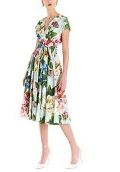abito a trapezio con gonna plissettata con stampa floreale DOLCE & GABBANA | Abiti | F6H3WT-HS5GBHC1AM