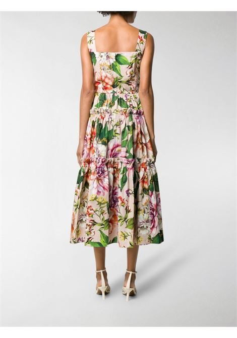 multicolored cotton floral print pleated sleveless long dress DOLCE & GABBANA |  | F6H5RT-HS5F8HF1AJ