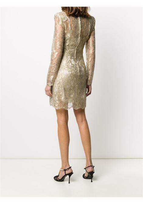 abito color oro corto in pizzo con fantasia floreale DOLCE & GABBANA | Abiti | F6H8BT-HLM02S0997