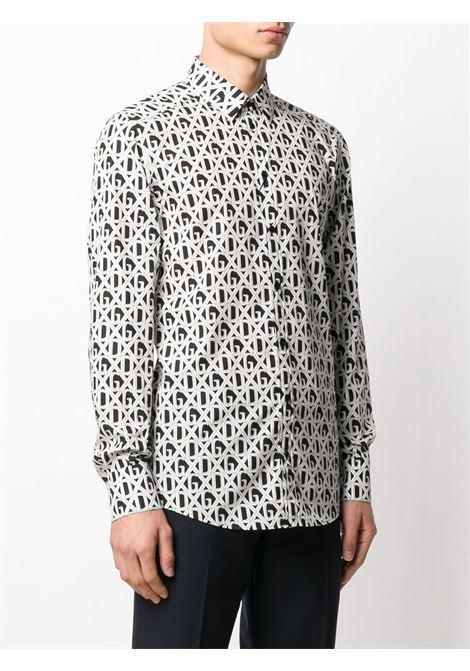 camicia in cotone bianco e nero con stampa logomania DG DOLCE & GABBANA | Camicie | G5EJ0T-HS5FUHN67C