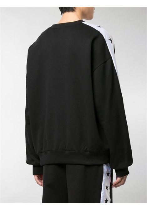 felpa girocollo nera con bande bianche sulle maniche DOLCE & GABBANA | Maglieria Moda | G9OI5Z-FU7DUN0000