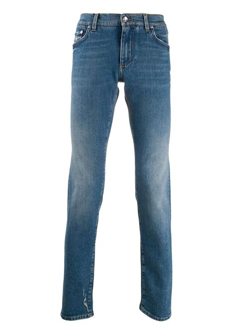 stonewashed blue jeans con logo sulla tasca posteriore DOLCE & GABBANA | Pantaloni | GY07LD-G8BY8S9001