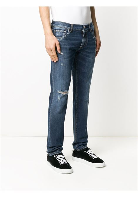 jeans blu scuro slim fit effetto distressed DOLCE & GABBANA | Pantaloni | GY07LD-G8CA2S9001