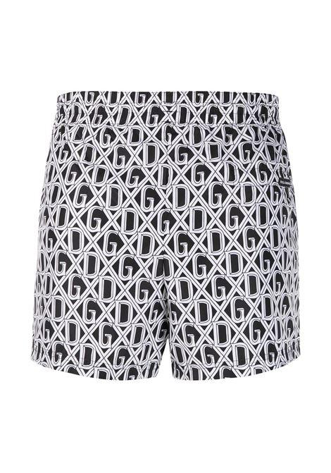 costume da bagno corti bianco nero con monogram D&G all over DOLCE & GABBANA | Costume | M4A06T-HSMH6HN67C