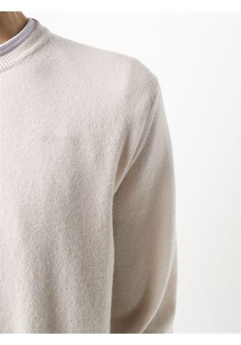 maglioncino avorio girocollo in cachemere con maniche a costine ELEVENTY | Maglieria Moda | 979MA0206-MAG2400600