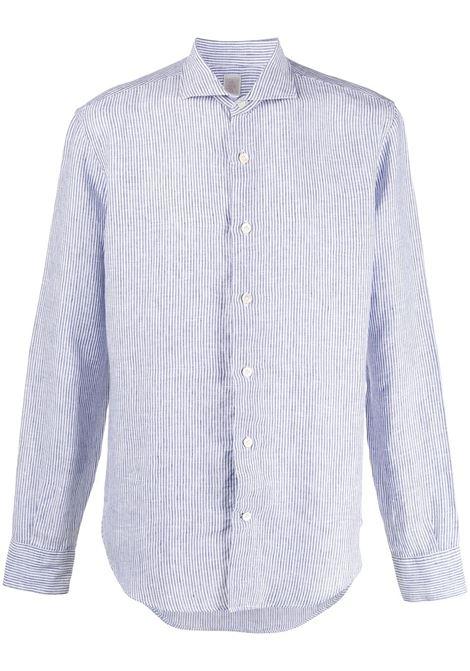 Camicia con colletto alla francese a righe in morbido lino blu con stampa a righe ELEVENTY | Camicie | A75CAMA05-TES0A00311