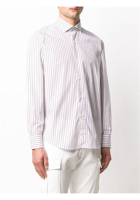 white cotton striped spread-collar shirt featuring a red striped print ELEVENTY |  | A75CAMA18-TES0A19404