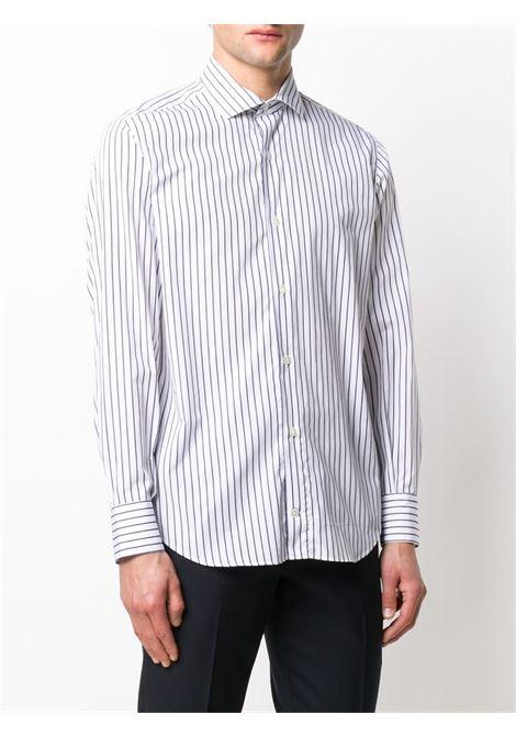 camicia con collo cutaway a righe in cotone bianco e blu navy con stampa a righe ELEVENTY | Camicie | A75CAMA18-TES0A19411