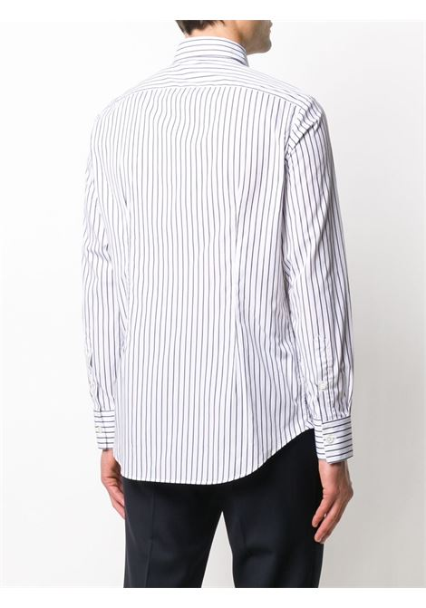 white and navy blue cotton striped cutaway-collar shirt featuring a striped print ELEVENTY |  | A75CAMA18-TES0A19411