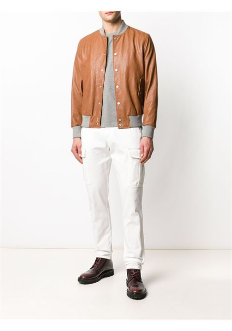 camel goat skin contrasting-collar bomber jacket ELEVENTY |  | A75GBTA08-PEL0A00904