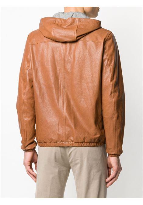 Camel goat skin zip-up grey hooded jacket featuring a hood with drawstring tie fastenings ELEVENTY |  | A75GBTA10-PEL0A00904