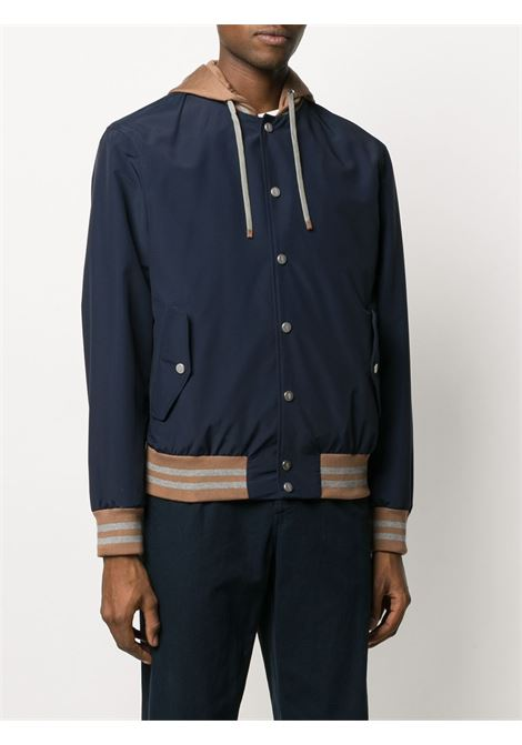 Blue cotton and wool blend two-tone hooded jacket  ELEVENTY |  | A75GBTA22-GBT270078200