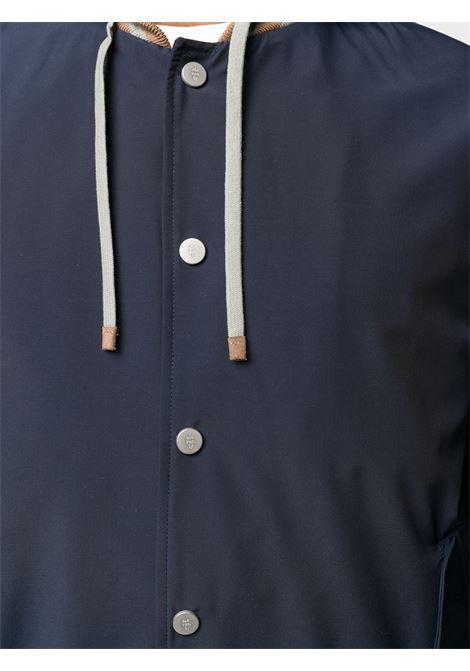 Giacca blu con cappuccio in pelle di capra cammello ELEVENTY | Giubbini | A75GBTA22-GBT270078200