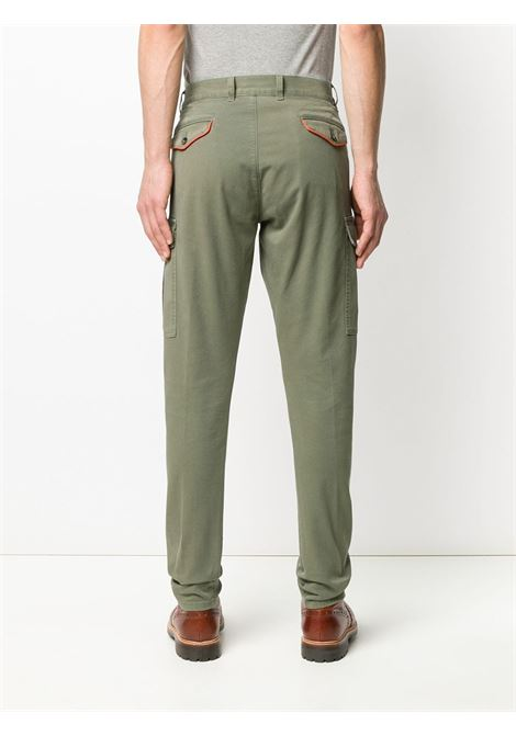 Pantaloni cargo a gamba affusolata con bordi in misto cotone verde salvia ELEVENTY | Pantaloni | A75PANA03-TET0A00107