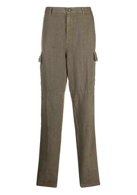 Pantaloni cargo a gamba dritta in lino verde oliva ELEVENTY | Pantaloni | A75PANA15-TET0A01007