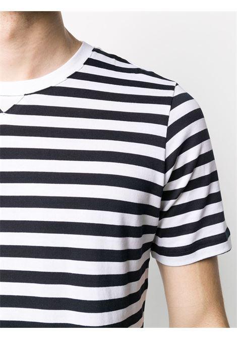 T-shirt in maglia fine di cotone nero e bianco con scollo tondo, ELEVENTY | Maglieria Moda | A75TSHA01-JER0A00401N-11