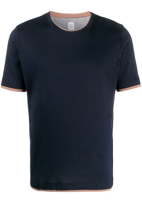 Navy blue layered-effect cotton T-shirt featuring a layered design ELEVENTY |  | A75TSHA05-JER0A00611