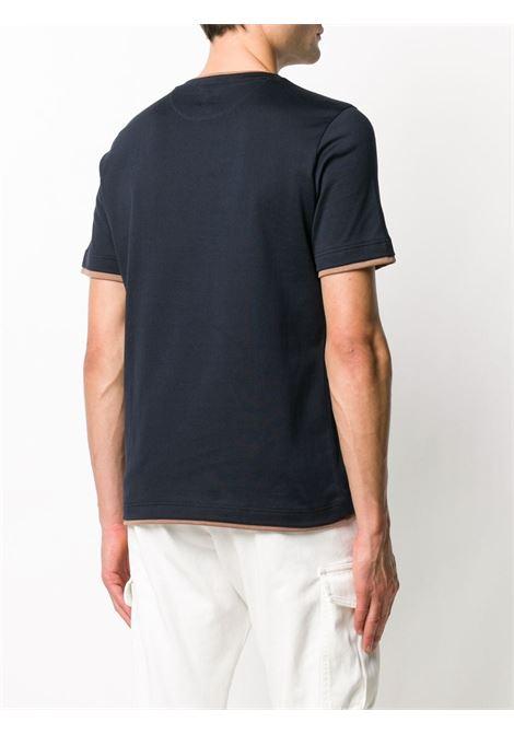 t-shirt in cotone effetto stratificato blu navy con design a strati ELEVENTY | Maglieria Moda | A75TSHA05-JER0A00611