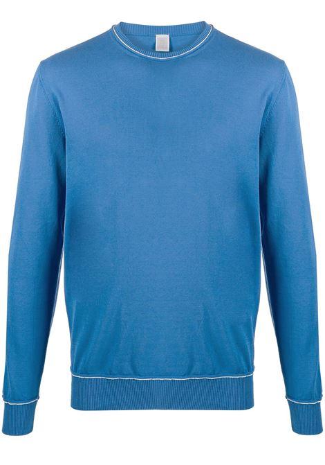 Maglia in cotone blu con bordino a contrasto con girocollo a coste ELEVENTY | Maglieria Moda | A76MAGA27-MAG0A03508