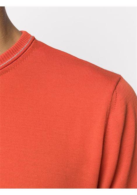 maglione in cotone arancione con costine ai polsi e in vita ELEVENTY | Maglieria Moda | A76MAGA27-MAG0A03540