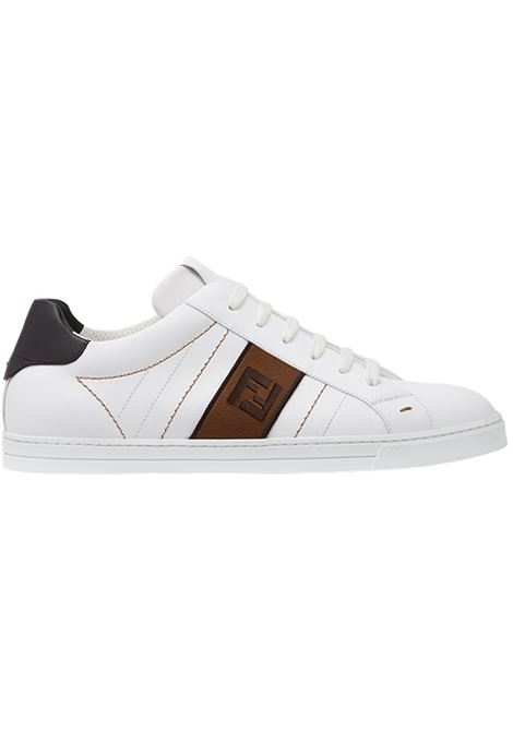 white calf leather sneakers with Zucca brown band on the side FENDI |  | 7E1166-A3XLF13TH
