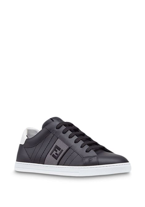 black calf leather low top sneakers with side FF logo band FENDI      7E1166-A3XLF16OK