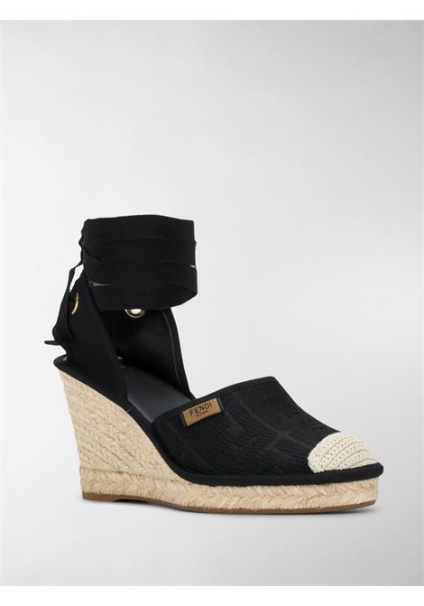 black cotton FF motif espadrilles  with high wedge heel FENDI |  | 8V7072-ABN2F0ABB
