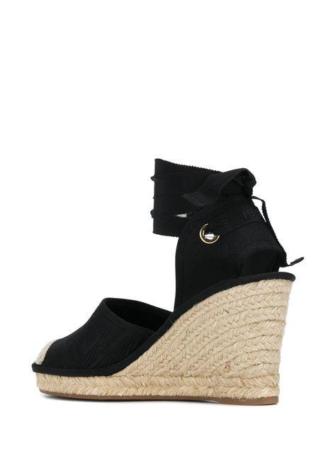 sandalo espadrillas con zeppa alta in cotone nero con motivo FF FENDI | Scarpe | 8V7072-ABN2F0ABB
