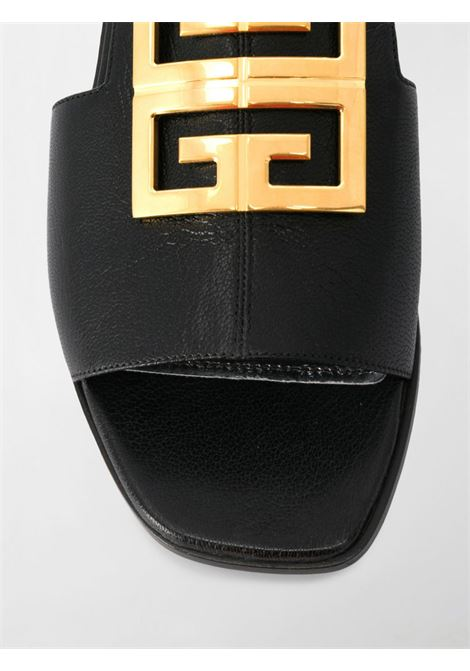black goat leather flat sandal with golden metal Givenchy front logo GIVENCHY |  | BE303AE05V001