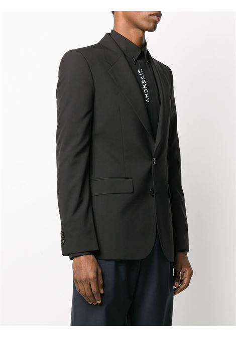 black wool fitted blazer with white lettering Givenchy logo printed pocket GIVENCHY |  | BM307P100B001