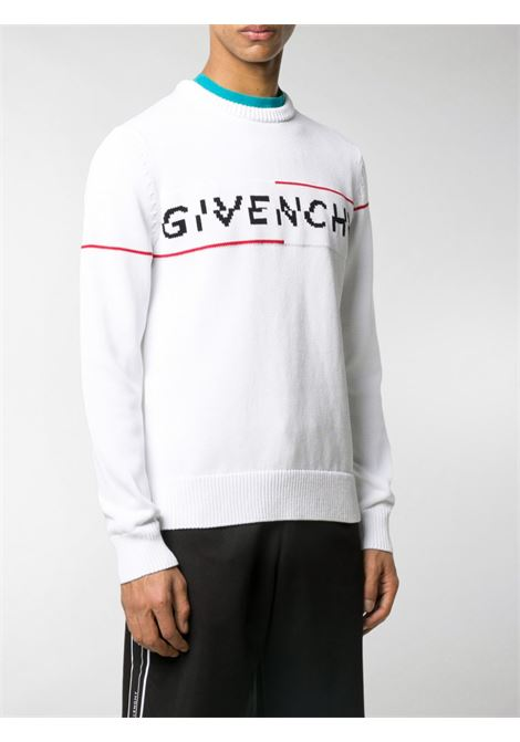 white cotton intarsia white jumper with front black and red Givenchy logo GIVENCHY |  | BM90B4401M199